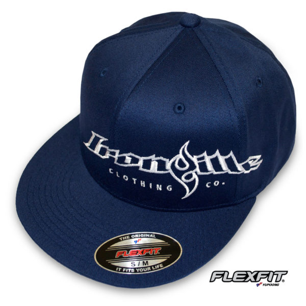 Ironville Weightlifting Gym Hat Flexfit Pro Baseball Flat Bill Fitted Navy Blue With White Big Horizontal Logo
