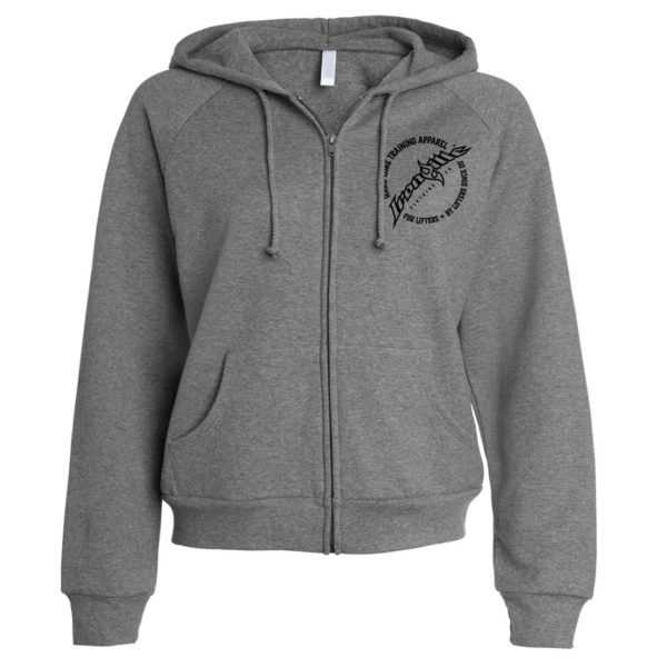 Ironville Womens Weightlifting Zipper Hoodie Circle Logo Front Dark Heather Gray