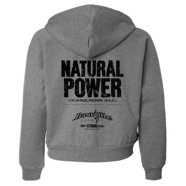 Natural Power Conquers All Womens Powerlifting Gym Zipper Hoodie Dark Heather Gray