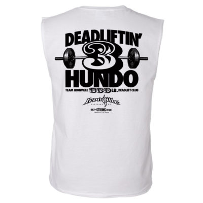 300 Deadlift Club Sleeveless T Shirt White