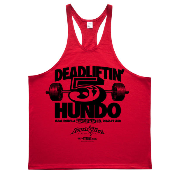 500 Deadlift Club Stringer Tank Top Red
