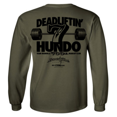 700 Deadlift Club Long Sleeve T Shirt Military Green