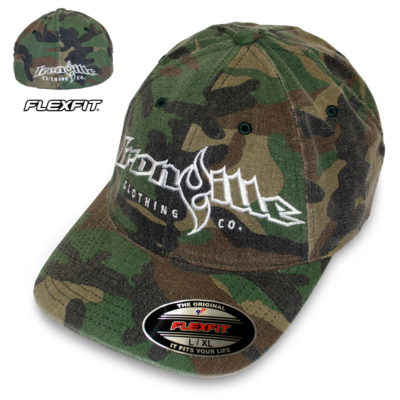 Ironville Powerlifting Gym Hat Flexfit Curved Bill Fitted Green Wood Camo With White Big Horizontal Logo
