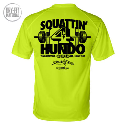 400 Squat Club Dri Fit T Shirt Neon Yellow