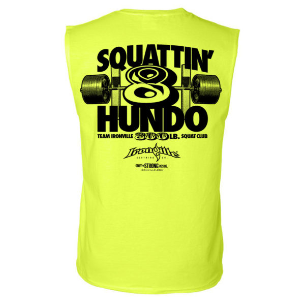800 Squat Club Sleeveless T Shirt Neon Yellow