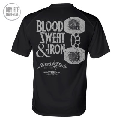 Blood Sweat And Iron Brass Knuckles Dumbbell Weightlifting Dri Fit T Shirt Black