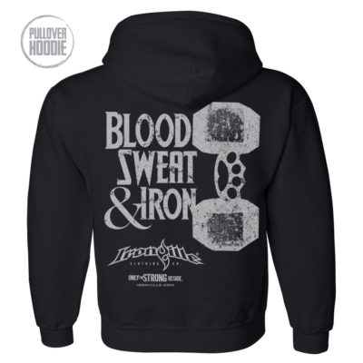 Blood Sweat And Iron Brass Knuckles Dumbbell Weightlifting Hoodie Black