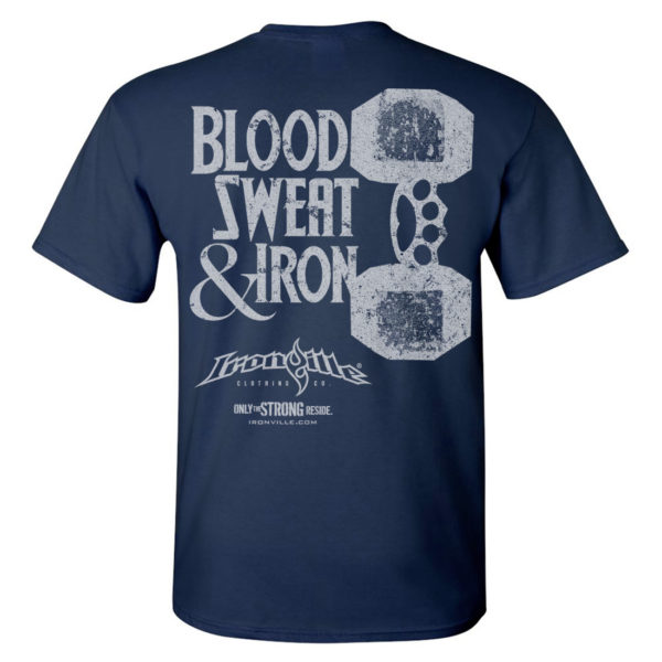 Blood Sweat And Iron Brass Knuckles Dumbbell Weightlifting T Shirt Navy Blue