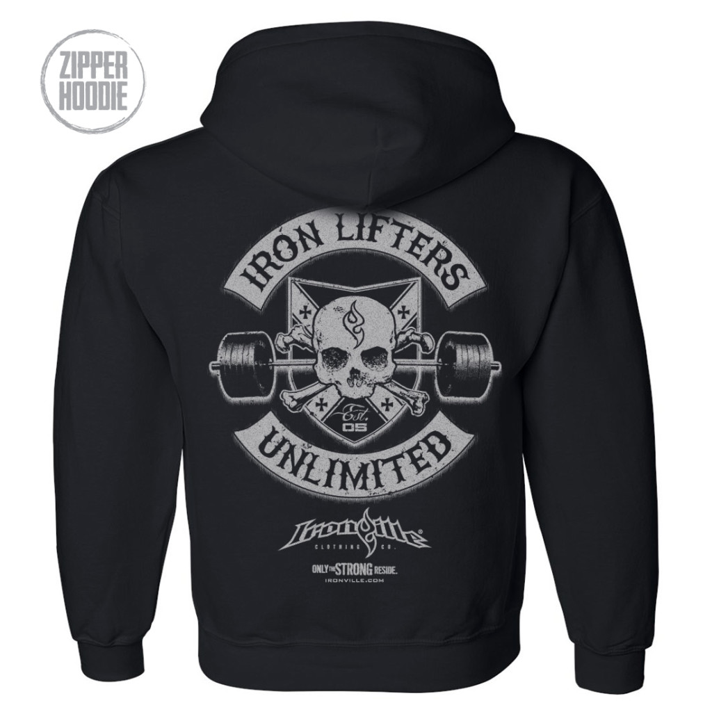 Iron Lifters Unlimited Skull Barbell Weightlifting Zipper Hoodie Black
