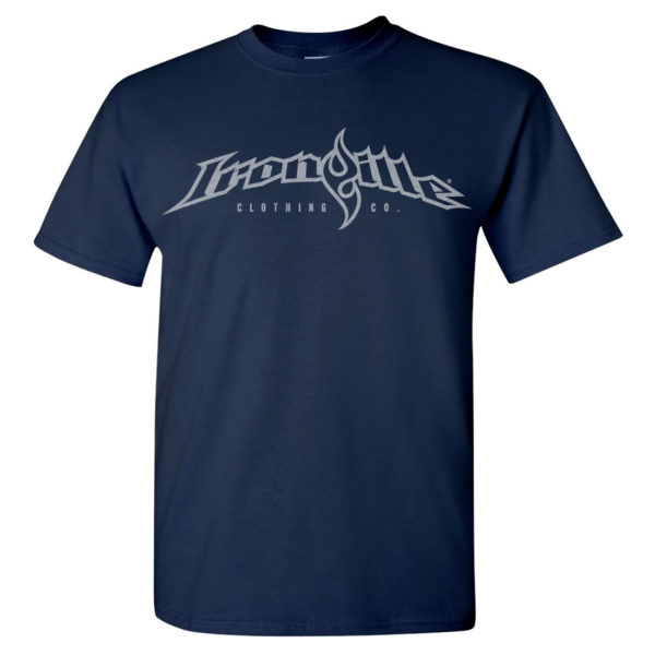 Ironville T Shirt Full Horizontal Logo Front Navy Blue