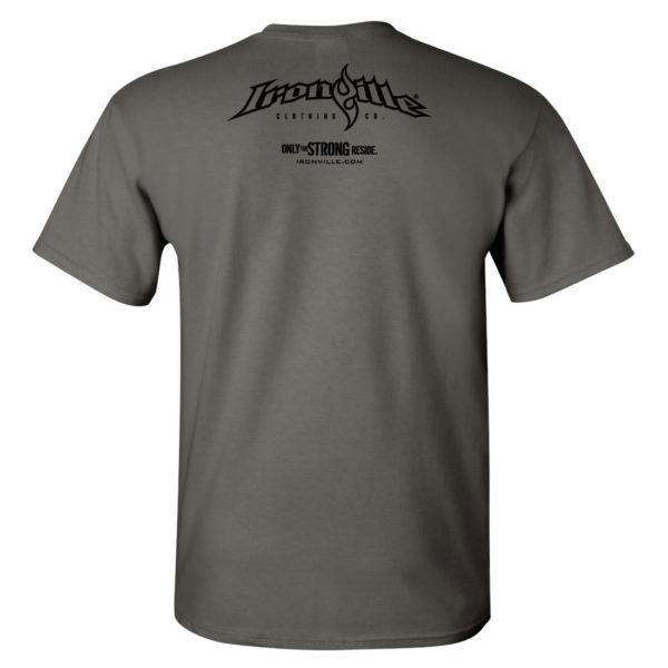 Ironville T Shirt Small Horizontal Logo Back Charcoal Gray