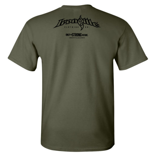Ironville T Shirt Small Horizontal Logo Back Military Green