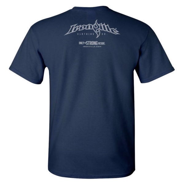 Ironville T Shirt Small Horizontal Logo Back Navy Blue