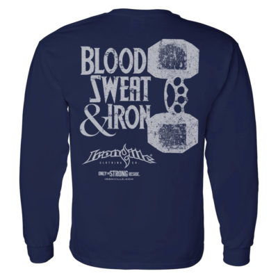 Blood Sweat And Iron Brass Knuckles Dumbbell Weightlifting Long Sleeve T Shirt Navy Blue