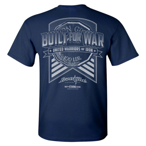 Built For War Bodybuilding Gym T Shirt Navy Blue