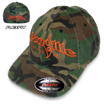 Ironville Weightlifting Gym Hat Flexfit Curved Bill Fitted Green Wood Camo With Orange Big Horizontal Logo