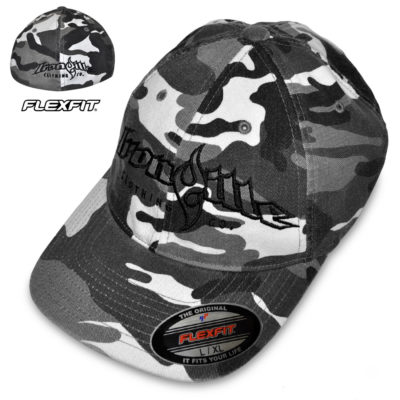 Ironville Workout Hat Flexfit Curved Bill Fitted Winter Gray Camo With Black Big Horizontal Logo