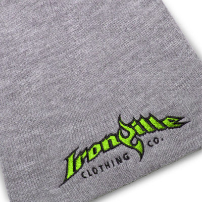 Ironville Strongman Beanie Gray Black Lime Green