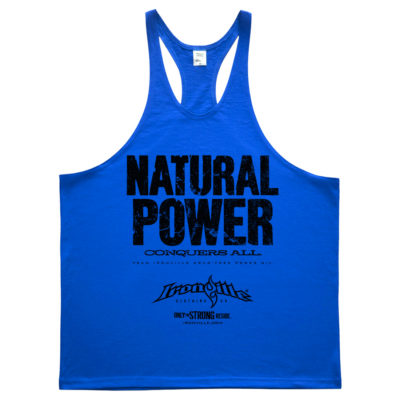 Natural Power Conquers All Powerlifting Stringer Tank Top Royal Blue