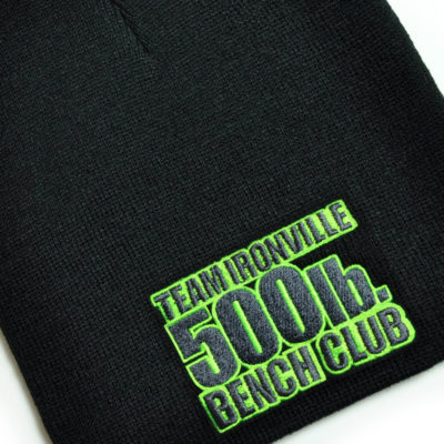 500 Pound Bench Press Club Beanie Skull Cap Black With Lime Green Charcoal