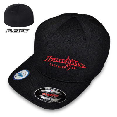 Ironville Flexfit Cool Dry Strongman Hat Black With Red Horizontal Logo