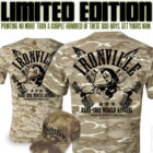 Ironville Limited Edition Dumbbell Hardcore Skull Desert Wood Camo T Shirts July 2016