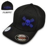 Skull And Barbells Hat Flexfit Cool Dry Bodybuilding Powerlifting Weightlifting Black With Royal Blue