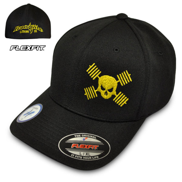 Skull And Barbells Hat Flexfit Cool Dry Bodybuilding Powerlifting Weightlifting Black With Yellow