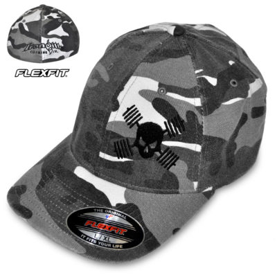 Skull And Barbells Weightlifting Hat Flexfit Curved Bill Fitted Winter Gray Camo With Black