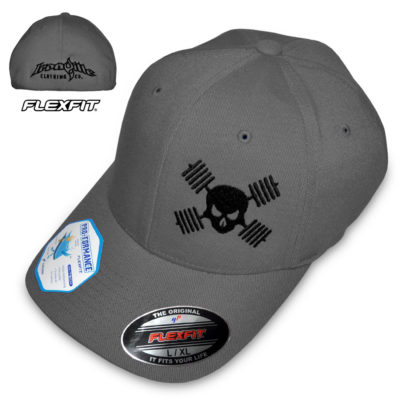 Barbell Skull Hat Flexfit Pro Formance Bodybuilding Powerlifting Weightlifting Gray With Black