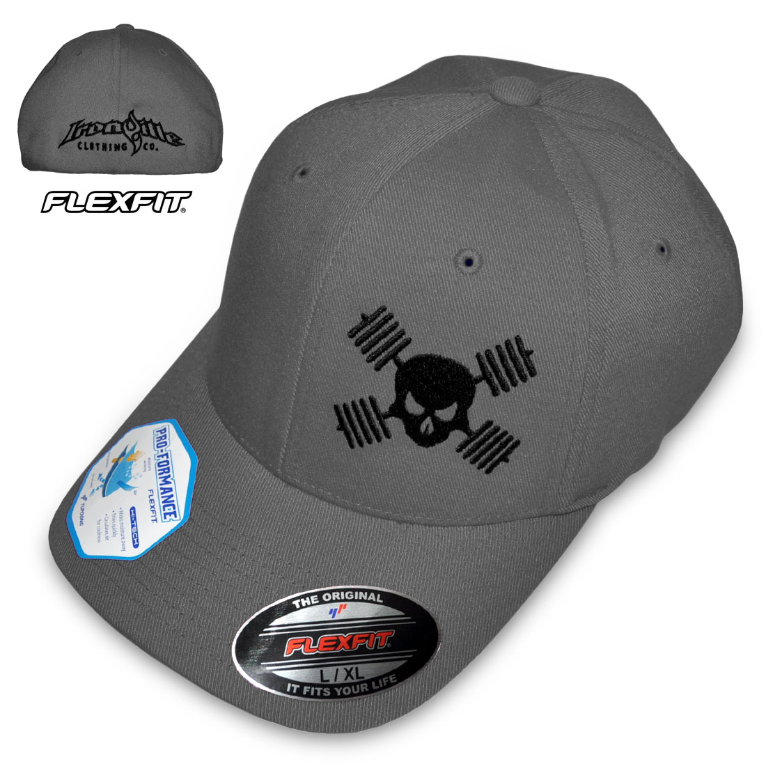 Barbell Skull Hat Powerlifting Bodybuilding Weightlifting ... f2966c2f2d5
