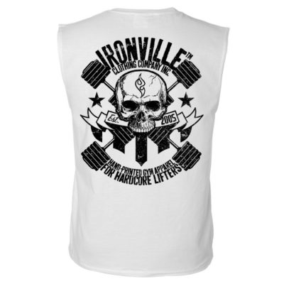 Dumbbell Skull Sleeveless Bodybuilding T Shirt White