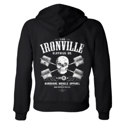Heavy Iron Outlaw Skull Barbells Womens Powerlifting Zipper Hoodie Black