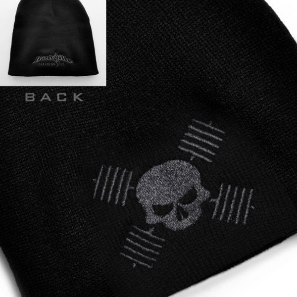 Skull And Barbells Beanie Bodybuilding Powerlifting Weightlifting Black With Charcoal