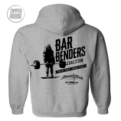 Bar Benders Coalition Pullin Deads Turnin Heads Powerlifting Zipper Hoodie Sport Gray