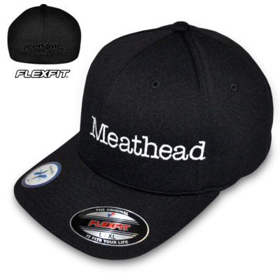 Meathead Hat Flexfit Cool Dry Bodybuilder Powerlifter Weightlifter Black With White