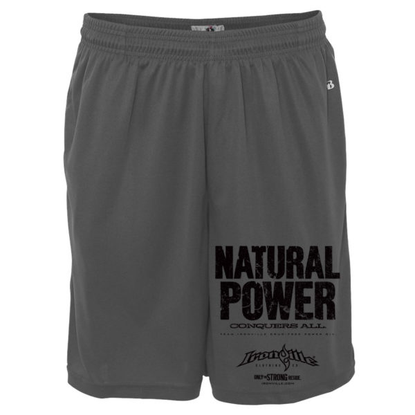 Natural Power Conquers All Powerlifting Gym Shorts Polyester Charcoal Gray
