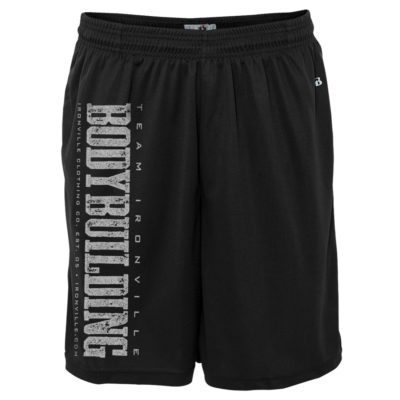 Team Ironville Bodybuilding Gym Shorts Polyester Vertical Black