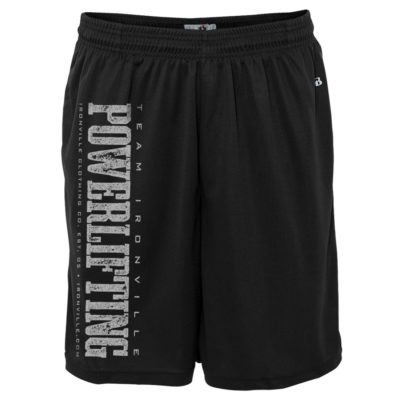 Team Ironville Powerlifting Gym Shorts Polyester Vertical Black