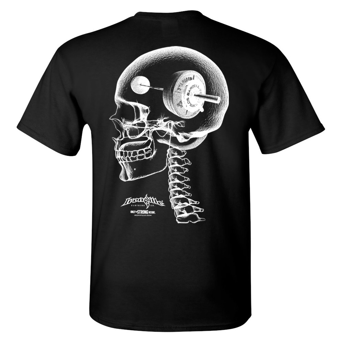 Think Heavy Barbell Weightlifting Skull T Shirt Black