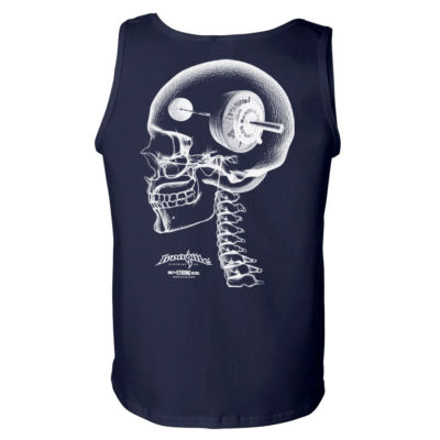 Think Heavy Barbell Weightlifting Skull Tank Top Navy Blue