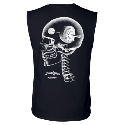 Think Heavy Barbell Weightlifting Sleeveless Skull T Shirt Black