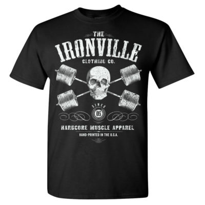 Heavy Iron Outlaw Skull Barbells Powerlifting Gym T Shirt Black Front Art
