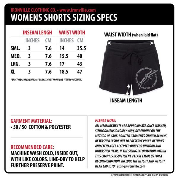 Ironville Clothing Womens Gym Shorts Size Chart 2017