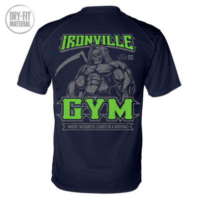 Ironville Gym Reaper Weakness Bodybag Weightlifting Dri Fit T Shirt Navy Blue