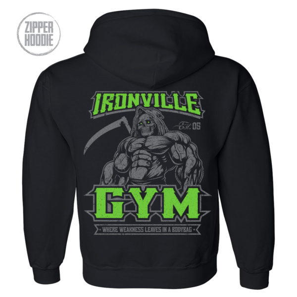 Ironville Gym Reaper Weakness Bodybag Weightlifting Zipper Hoodie Black
