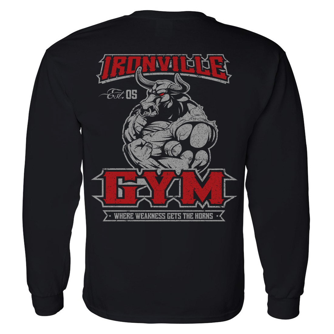 ironville gym bull horns powerlifting long sleeve t shirt