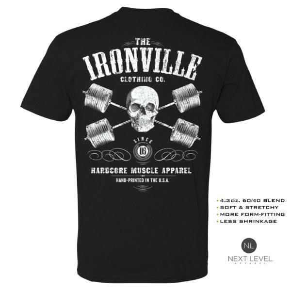Heavy Iron Outlaw Skull Barbells Powerlifting Soft Blend Fitted Powerlifting T Shirt Black With White Back Art