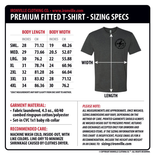 Ironville Clothing Mens Next Level Soft Blend Fitted T Shirt Size Chart