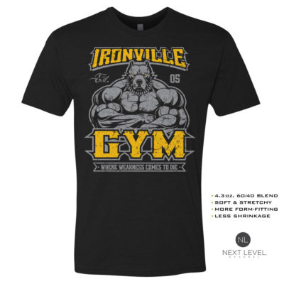 Ironville Gym Pitbull Where Weakness Comes To Die Soft Blend Fitted Bodybuilding T Shirt Black With Yellow Front Art